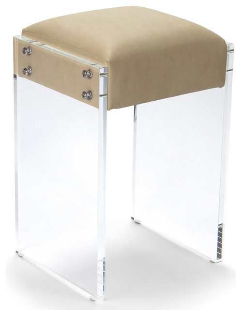 Modern Hollywood Regency Beige Faux Leather Acrylic Vanity Counter Stool  transitional-bar-stools-