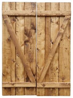 Board & Batten Wood Shutters - Rustic - Exterior Shutters - by ...