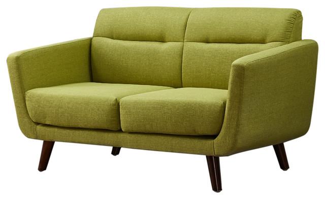 Contemporary Loveseat, Lemon Green.
