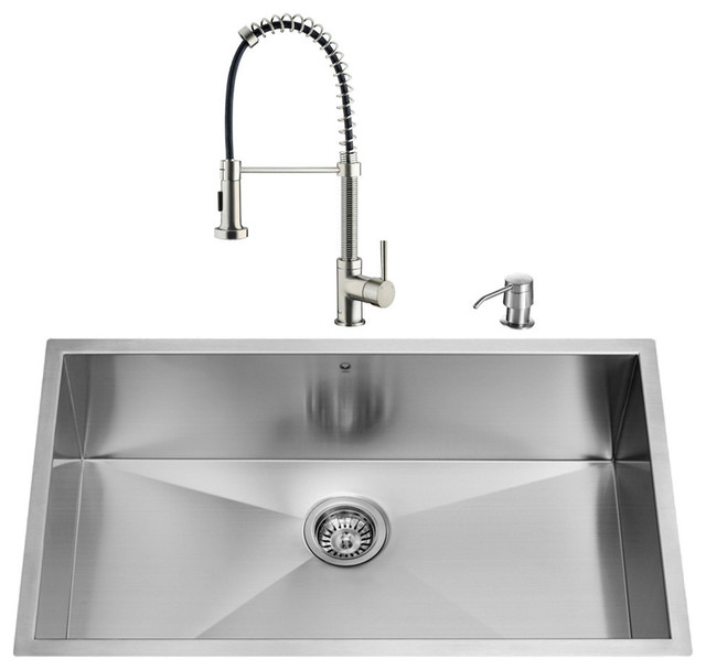 contemporary kitchen sinks undermount vigo all in one 32 quot ludlow stainless steel undermount 5731