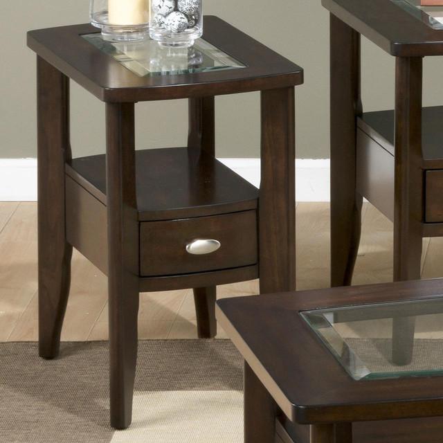 Jofran 827 7 Chairside Table w Drawer & Glass Insert