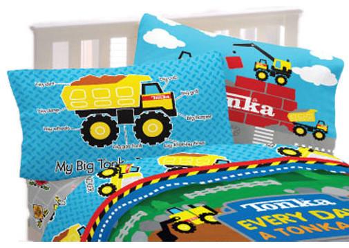Tonka trucks twin sheet set dump truck world bedding contemporary kids bedding by obedding - Dump truck twin bed ...