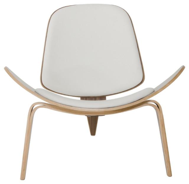 Modrest Warren Modern Walnut Accent Chair, White
