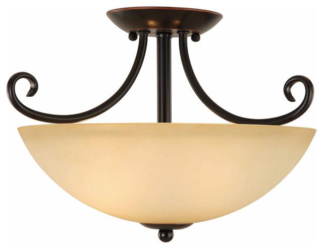 Oil Rubbed Bronze Bathroom Vanity Ceiling Lights: Oil Rubbed Bronze Semi-Flush Mount Ceiling Light Fixture