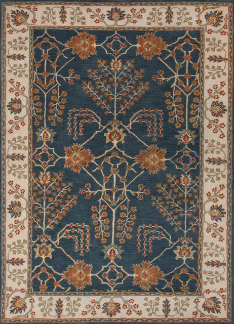 Poeme Arts and Crafts Wool Rug, Blue, 8'x10'