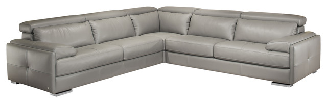 Awe Inspiring Gary Italian Leather Sectional Sofa In Ash Gray Inzonedesignstudio Interior Chair Design Inzonedesignstudiocom