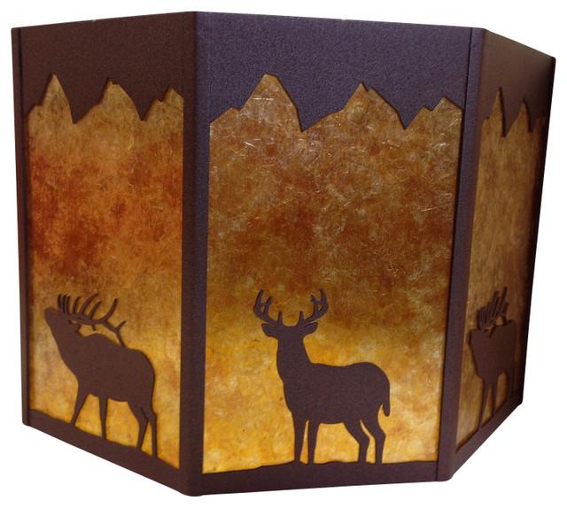Rustic octagon lamp shade deer elk brown amber mica rustic rustic octagon lamp shade deer elk brown amber mica rustic lamp mozeypictures Image collections