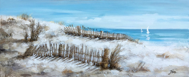 """wooden Fence"" Hand Painted Canvas Art, 55""x27.5""."