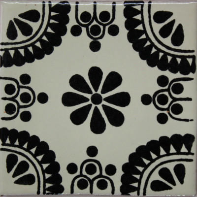 X Pcs Black Madrid Talavera Mexican Tile Traditional Tile - Black and white talavera tile