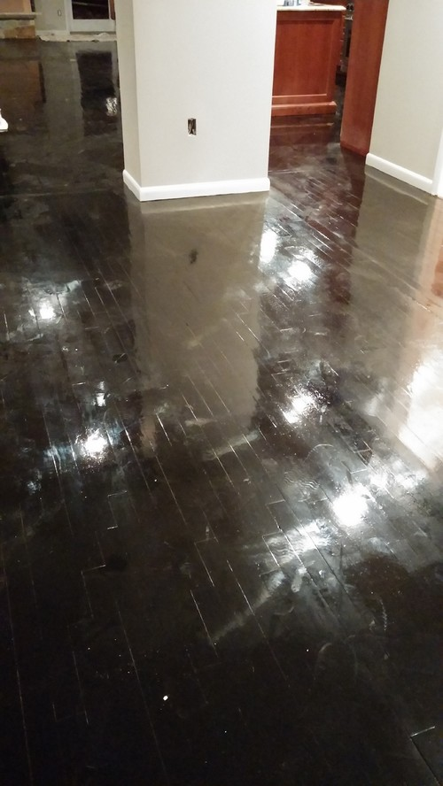 ebony hardwood floor - shiny to matte