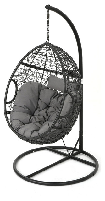 GDF Studio Kyle Outdoor Wicker Hanging Basket Chair, Black/Gray