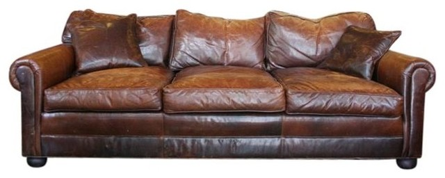 Restoration Hardware Lancaster Leather Sofa Traditional Sofas