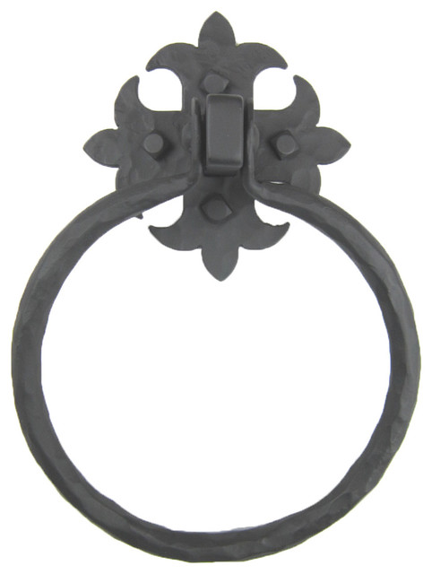 Rustic spanish fleur de lis wrought iron towel ring bhr1 traditional towel rings by - Fleur de lis towel bar ...