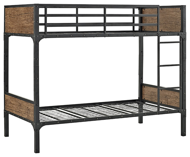 Awesome Twin Over Twin Rustic Wood Bunk Bed Brown Ocoug Best Dining Table And Chair Ideas Images Ocougorg