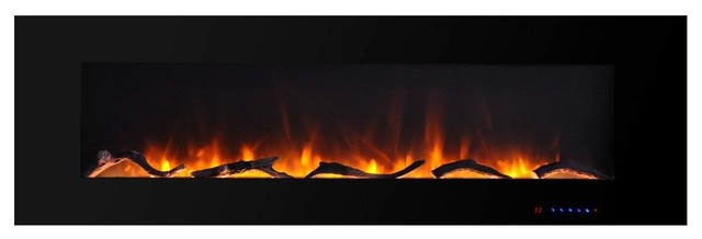 "Valuxhome 60"" Wall Mounted Flat Panel Smokeless Electric Fireplace, 750W/1500W"