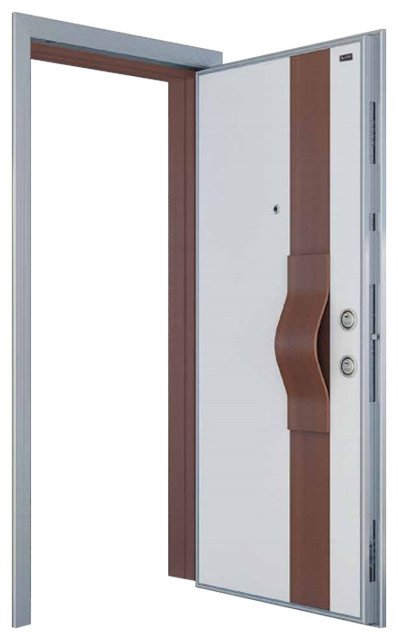 Charmant Fama Steel Security Door, Wood Look Finish White U0026 Alpi Walnut Frame