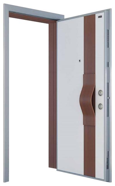 Shop Houzz Score Materials Fama Steel Security Door Wood Look Finish White Alpi Walnut