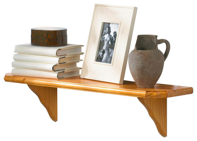 Solid Wood Shelf Kit W Curved Brackets Amp Oak Finish