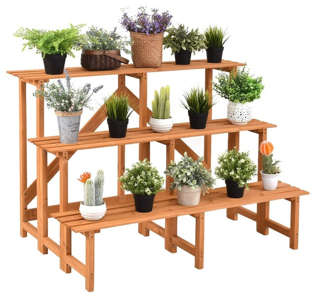 Modern 3-Tier Wide Wood Flower Pot Step Ladder Plant Stand.