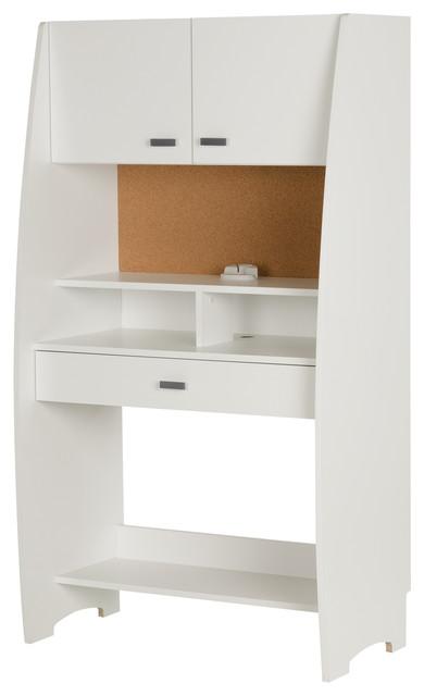 South Shore Reevo Desk With Hutch And Storage, Pure White.