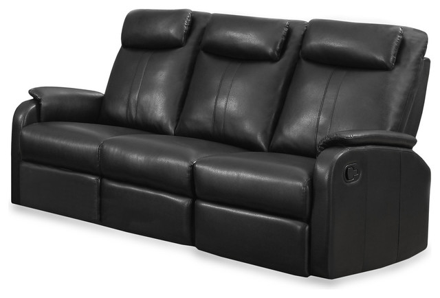 Bonded Leather Reclining Sofa, Black