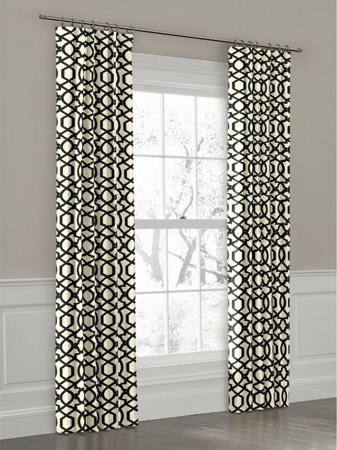 Curtains Ideas black and white panel curtains : Custom Black and White Geometric Ring Top Drapery Panel ...