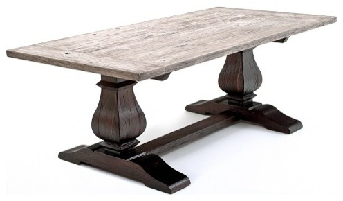 Reclaimed Wood Tuscan Trestle Base Table Traditional Dining Tables By Woodland Creek Furniture