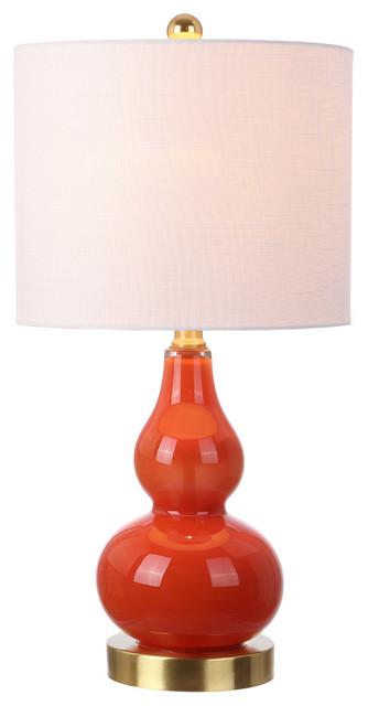 "Anya 20.5"" Mini Glass Table Lamp, Sunset Orange."