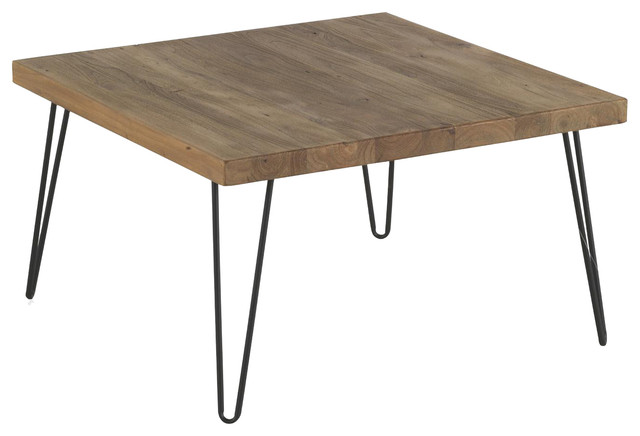 Iron And Reclaimed Elm Coffee Table Square