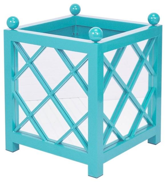 Worlds Away Largo Turquoise Indoor/Outdoor Mirrored Planter