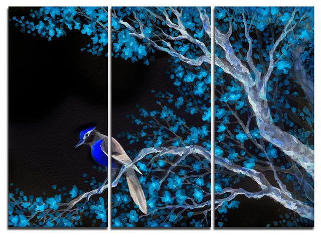 """Beautiful Bird on Flowering Branch"" Wall Art Print, 3 Panels, 36""x28"""