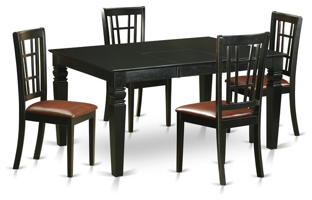 noah dining table set black 5 pieces transitional dining sets
