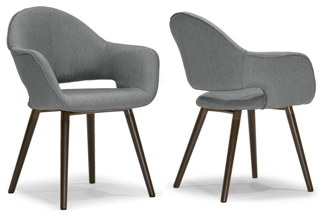 Adel Mid Century Retro Modern Gray Arm Dining Chairs With Beech Legs, Set Of