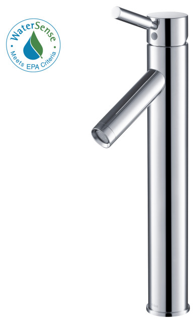 Sheven Single Handle 1-Hole Vessel Bathroom Faucet, Chrome