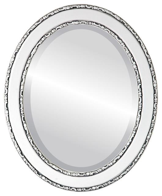 "Monticello Framed Oval Mirror In Linen White, 27""x39""."