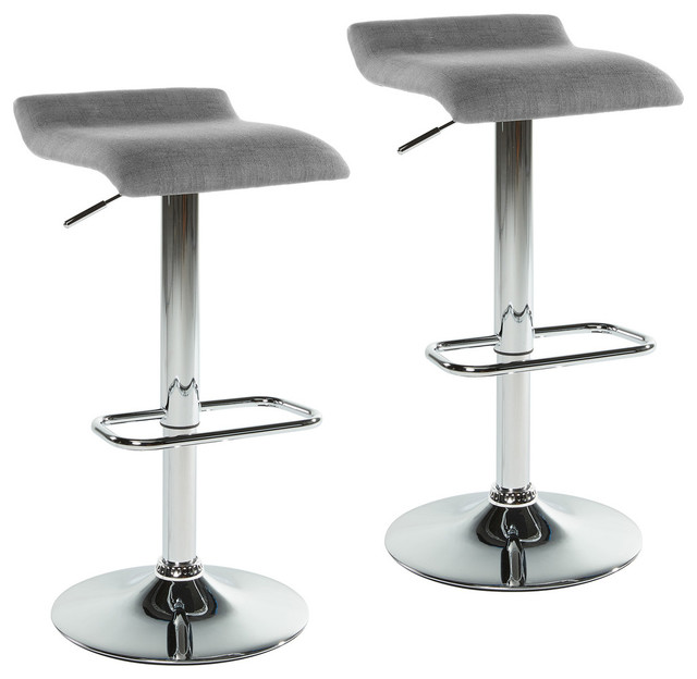 Backless Stools, Set Of 2, Gray