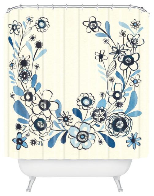 Deny Designs Cori Dantini Modern Delft Fl Shower Curtain
