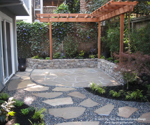 A Basalt Stone Water Feature, Patio Furniture, And A Few Colorful Cushions  For The Seat Wall Will Complete This Transformation In Sausalito, CA.