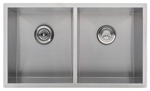"32""x19"" Handmade Double Bowl Stainless Steel Undermount Kitchen Sink R0."