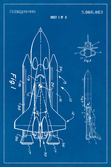 Space shuttle nasa patent art poster print industrial prints and space shuttle nasa patent art poster print malvernweather Gallery