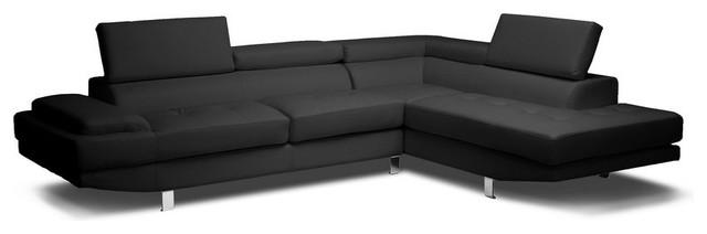 baxton studio selma black leather modern sectional sofa sofas