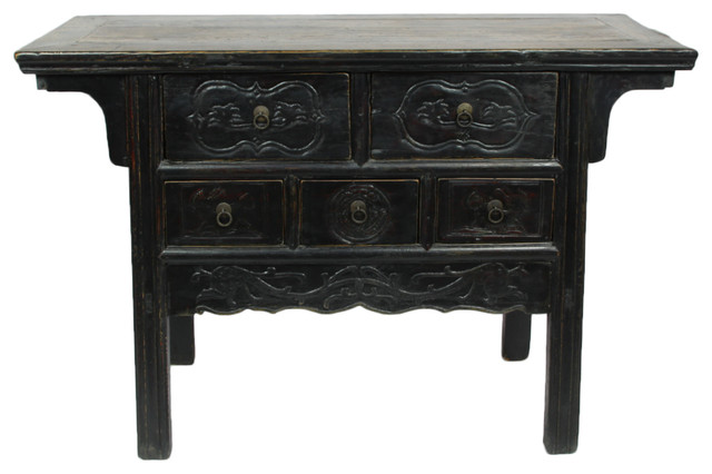 Consigned 5 Drawer Antique Gangsu Carved Cabinet, Black - Consigned 5 Drawer Antique Gangsu Carved Cabinet, Black