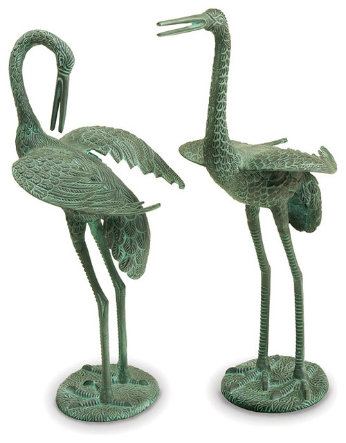 Preening Crane Statue Set Contemporary Garden Statues And Yard Art