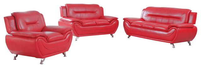 Arya 3-Piece Sofa Set, Red.