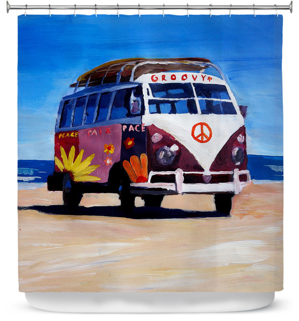 DiaNoche Designs Shower Curtain By Markus Bleichner Groovy Peace VW Bus
