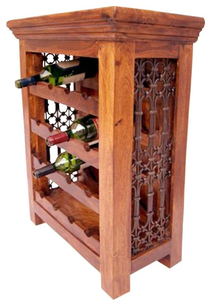 Sutton Rustic Solid Wood Iron Grill 16 Bottles Floor Wine Bar Rack Traditional Wine Racks By Sierra Living Concepts