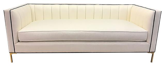 "Devereaux Sofa, Ivory Herringbone Perfomance Fabric, Navy Piping, 96""."