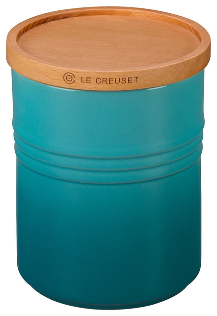 Le Creuset  Stoneware 2.5-Quart Canister With Wooden Lid, Caribbean.