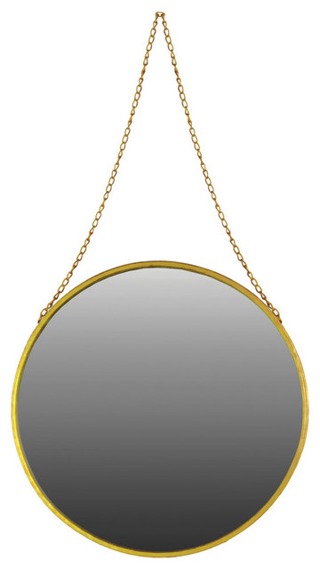 Metal Round Mirror With Chain Hanger Large Coated Finish Antique Gold.