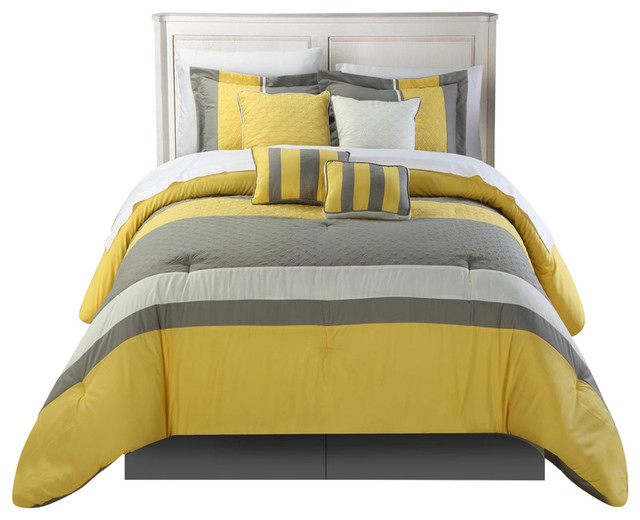 Diamante Yellow King 8 Piece Comforter Bed In A Bag Set